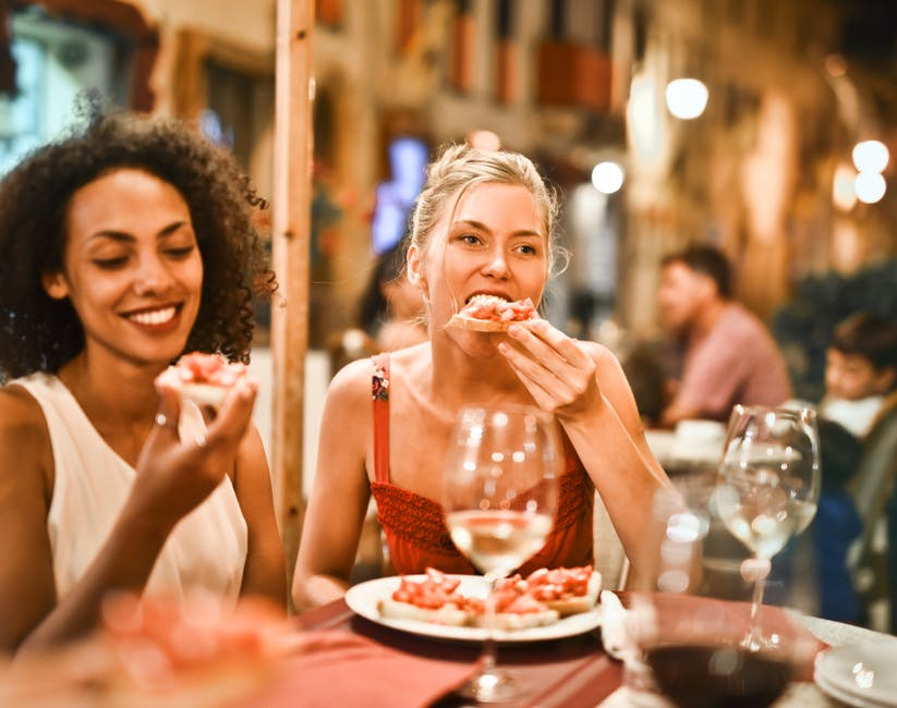 women eating in restaurant