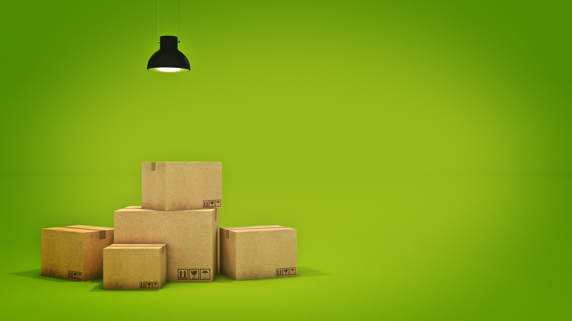 moving boxes on green background